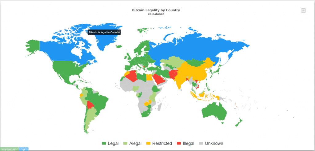 mapa legalidad Bitcoin BTC